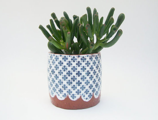 susan simonini ceramic  planter blue