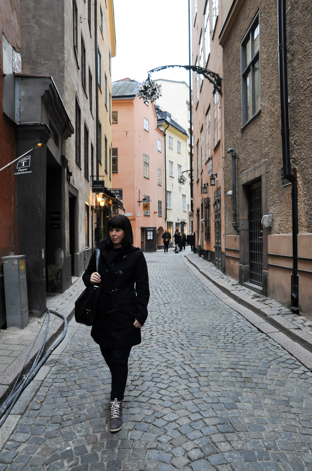 Walking the streets of Gamla Stan, Stockholm's old town.