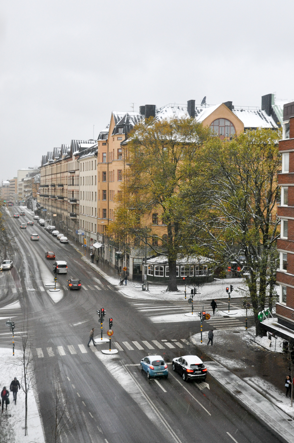 First snow blanketing the streets of Södermalm